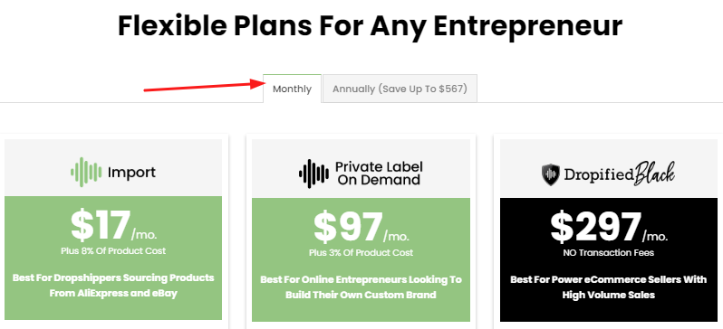 Dropified Monthly Plan Pricing